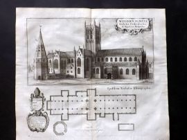 Dugdale 1682 Antique Print. Wigan Cathedral & Plan